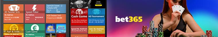 Variedad de juegos en Bet365 póker